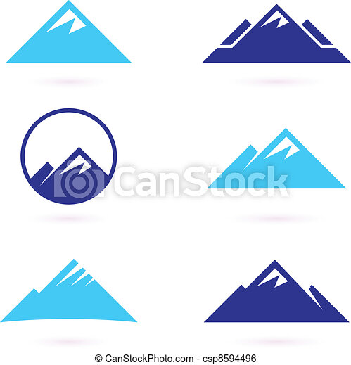montanha, ícones, isolado, colina, branca, ou - csp8594496