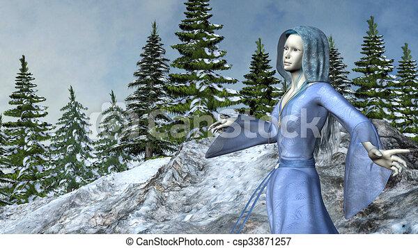 montanha azul, duende, waving, vestido, princesa - csp33871257