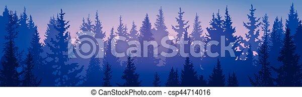 montanha, céu, pinho, madeiras, floresta, paisagem - csp44714016