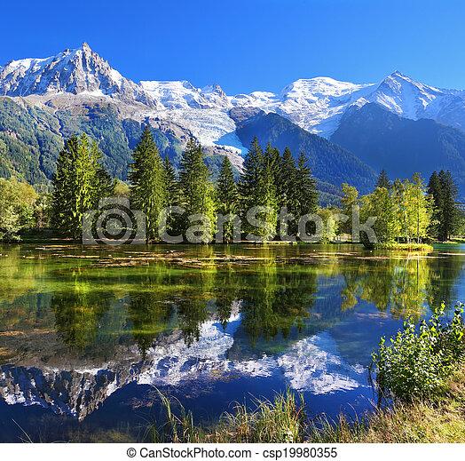 montanha, chamonix, recurso, frança - csp19980355