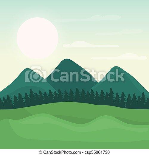 Montanha Desenho Floresta Paisagem Montanha Grafico Sol
