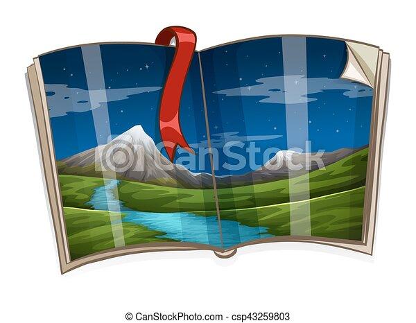 montanha, livro, cena - csp43259803