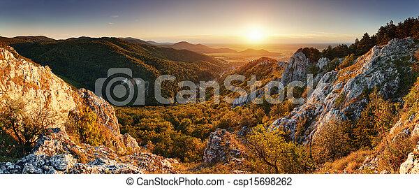 montanha, natureza, -, pôr do sol, panorâmico - csp15698262