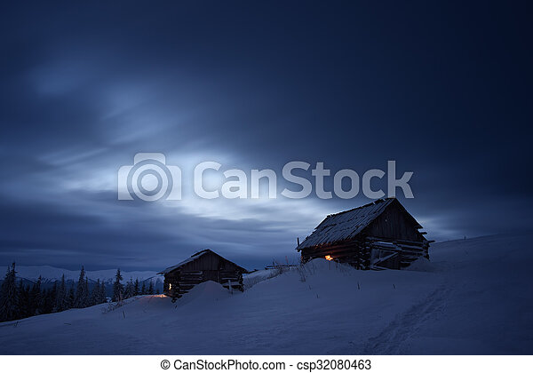 montanha, noturna, paisagem, vila - csp32080463