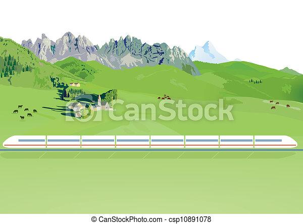 montanha, trem expresso - csp10891078
