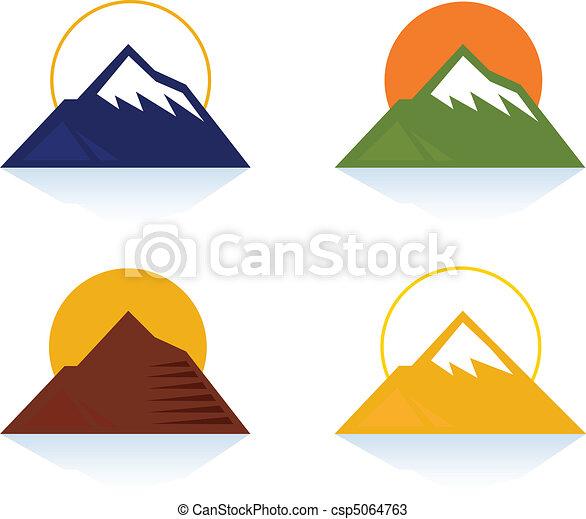 montanha, turista, ícones - csp5064763