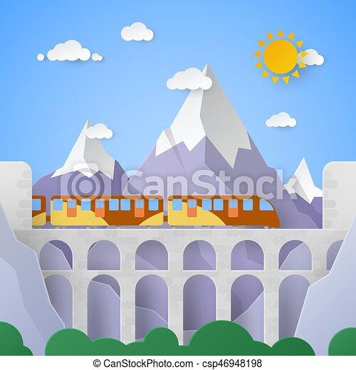 montanha, vetorial, aqueduto, ilustração, railway., papel, paisagem - csp46948198