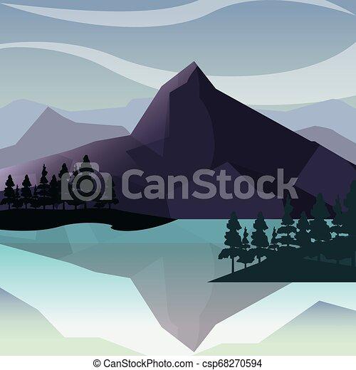 montanhas, árvores, natural, lago, paisagem - csp68270594