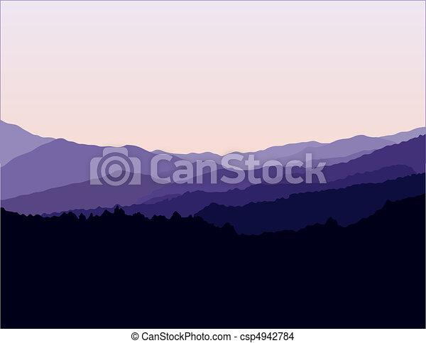 montanhas azuis, cume, paisagem - csp4942784