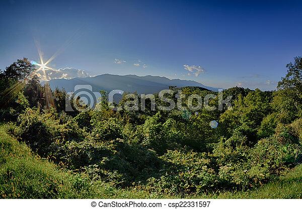 montanhas azuis, cume, verão, panorâmico, parque nacional, pôr do sol, parkway - csp22331597
