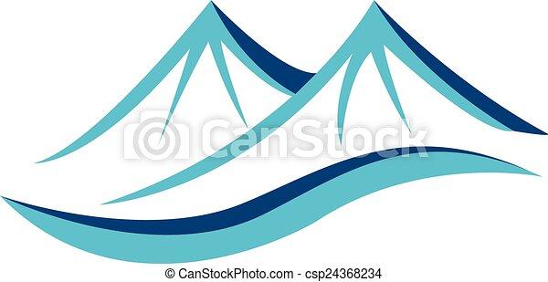 montanhas azuis, logotipo - csp24368234