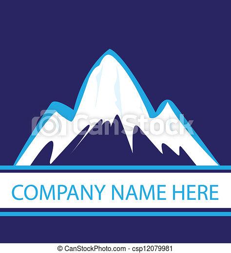 montanhas azuis, marinha, logotipo - csp12079981