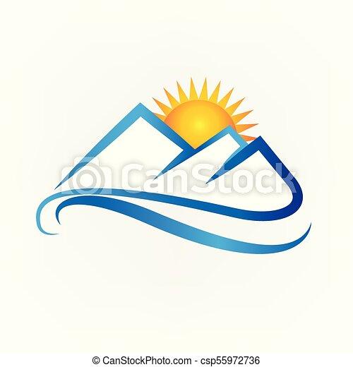 montanhas azuis, pôr do sol, logotipo - csp55972736