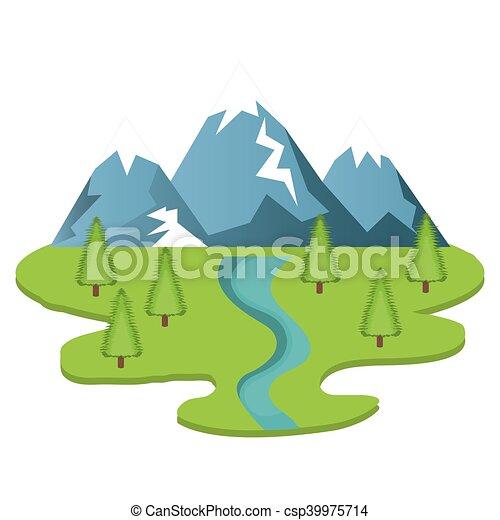 montanhas, natural, paisagem - csp39975714