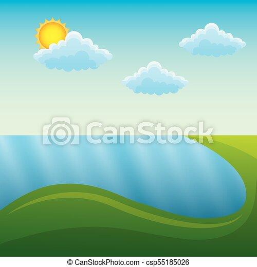 montanhas, natural, sol, cena, paisagem rio - csp55185026