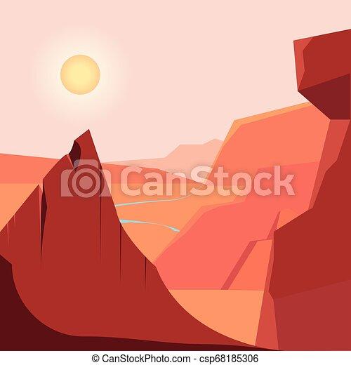montanhas, natural, zona, desertado, paisagem rio - csp68185306