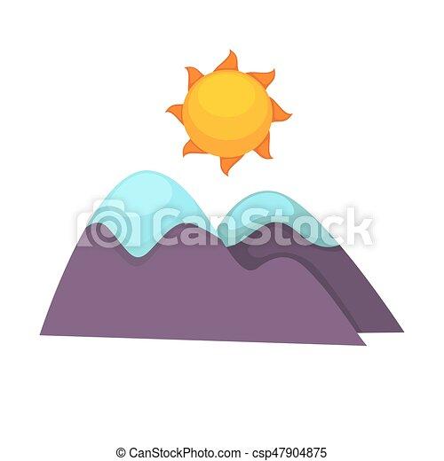 montanhas, nevado, sol, topo, acima, grande, caricatura - csp47904875