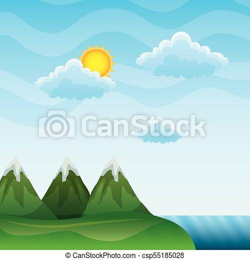 montanhas, nuvens, sol, pico, paisagem rio - csp55185028
