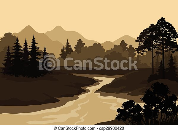 montanhas, paisagem, árvores, rio - csp29900420