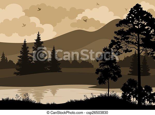montanhas, paisagem, árvores, rio - csp26503830