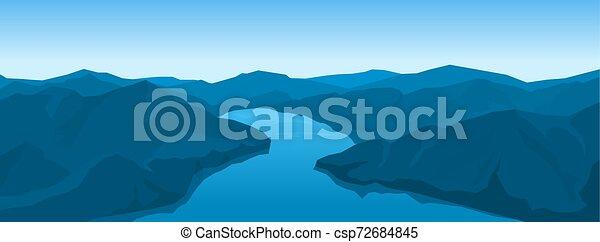 montanhas, paisagem rio - csp72684845