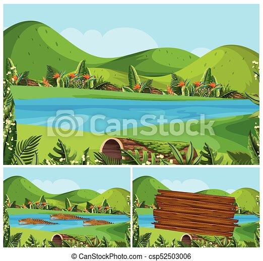 montanhas, rio, cenas, natureza - csp52503006