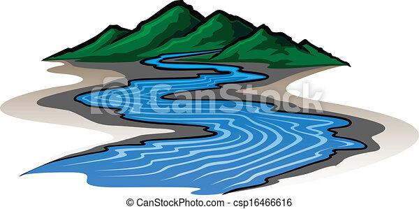 montanhas, rio - csp16466616