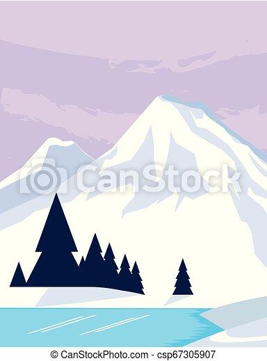 montanhas, rio, snowscape, cena, floresta - csp67305907