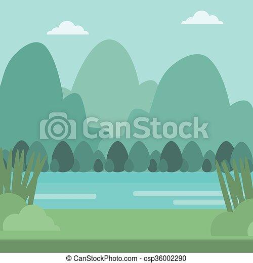 montanhas, river., paisagem, fundo - csp36002290