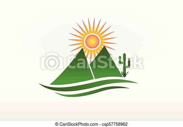 montanhas, sol, vetorial, logotipo, cacto, ícone - csp57758962