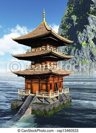 montanhas templo budista