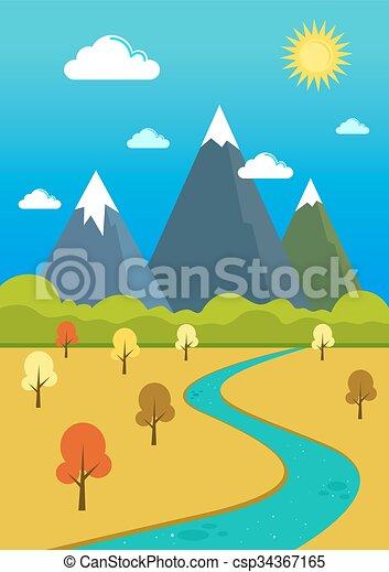 montanhas, vale, natural, paisagem rio - csp34367165
