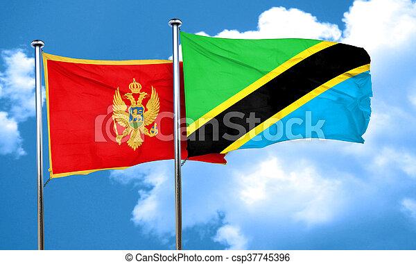 Montenegro flag with Tanzania flag, 3D rendering - csp37745396