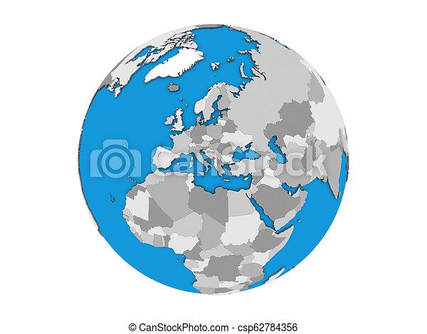 Montenegro on 3D globe isolated - csp62784356