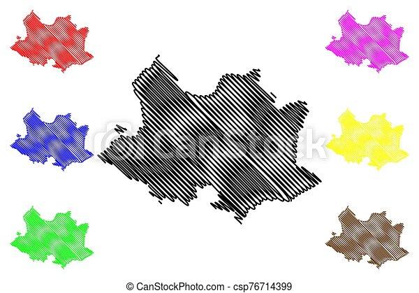 Montevideo Department (Departments of Uruguay, Oriental Republic of Uruguay) map vector illustration, scribble sketch Montevideo map - csp76714399