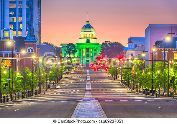 Montgomery, Alabama, USA with the State Capitol - csp69237051