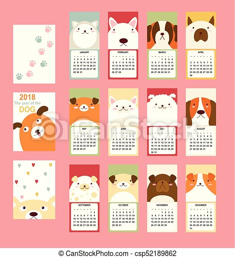 Monthly calendar 2018 with cute dog - csp52189862