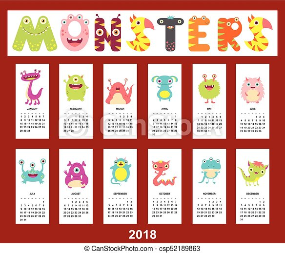Monthly calendar 2018 with cute monsters - csp52189863