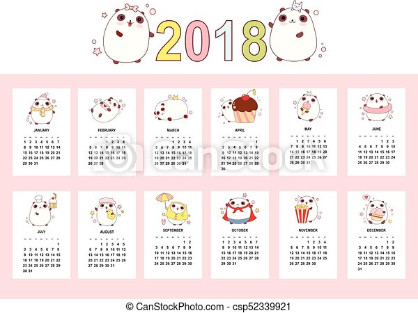 Monthly Calendar 2018 With Cute Pandas Set Of Vector