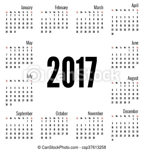 Monthly Calendar For 2017 Simple Month Grid Template Vector White