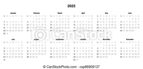2 Month Calendar 2022.Monthly Calendar Of Year 2022 Week Starts On Sunday Block Of Months In Two Rows And Six Columns Horizontal Arrangement Canstock