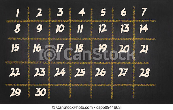 Monthly Calendar with 30 days on chalkboard background - csp50944663