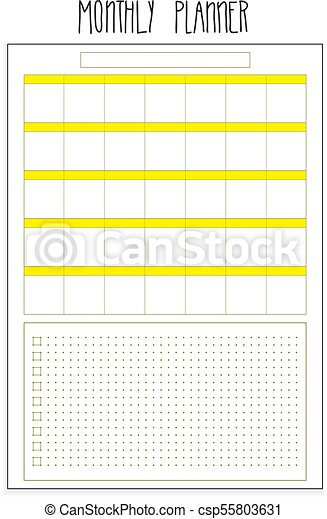monthly planner printable pages vector organizer template
