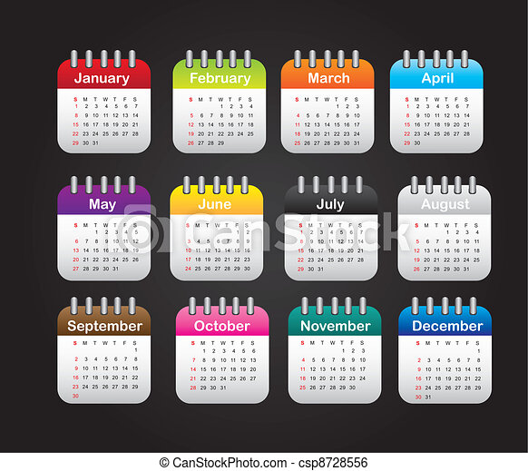 Months calendar over black background. vector illustration.
