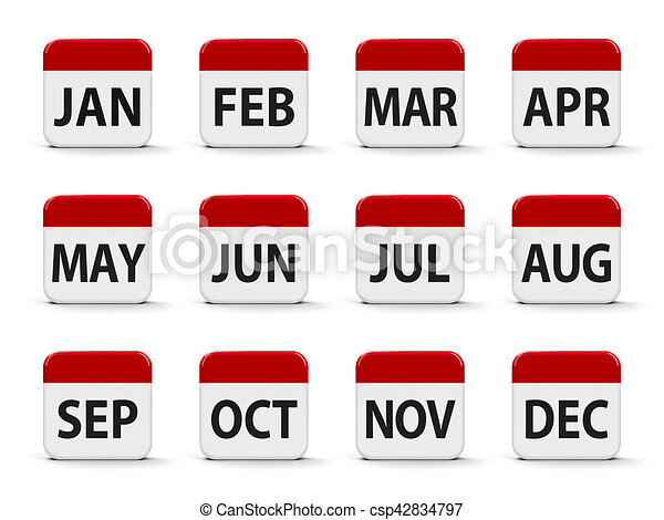 Months Calendar Web Buttons Three Dimensional Rendering 3d