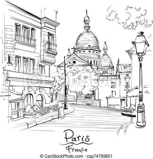 Vector Black And White Sketch Of The Place Du Tertre And The Sacre Coeur Quarter Montmartre In Paris France