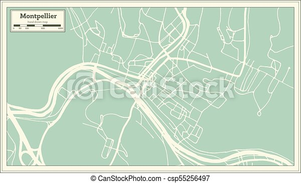 montpelier vermont usa city map in retro style outline map csp55256497