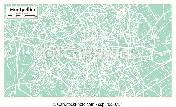 Montpellier On Map Of France.Montpellier France City Map In Retro Style Outline Map