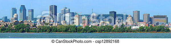 Montreal city skyline over river panorama - csp12892168