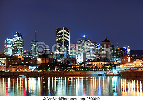 Montreal over river at dusk - csp12890649